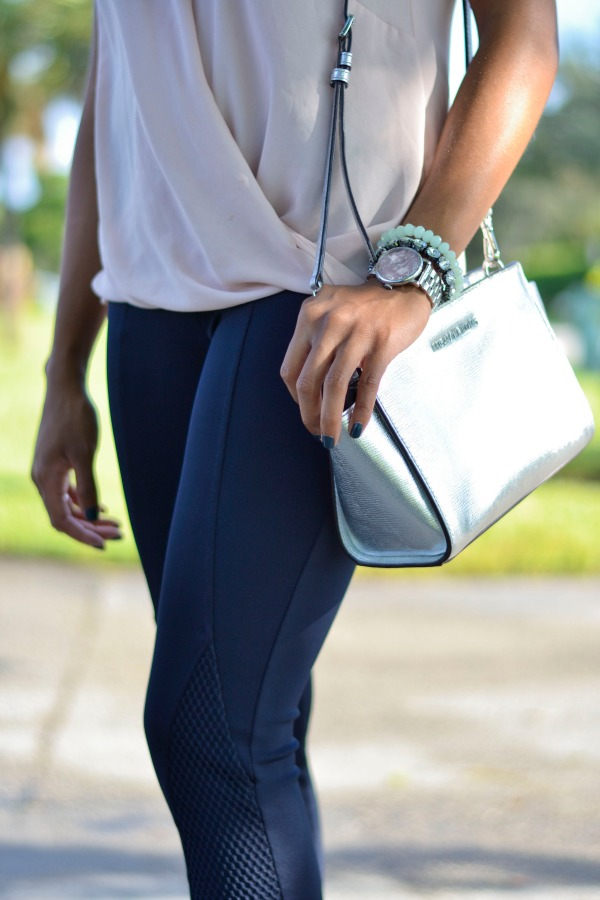 Blush Top + Navy Leggings