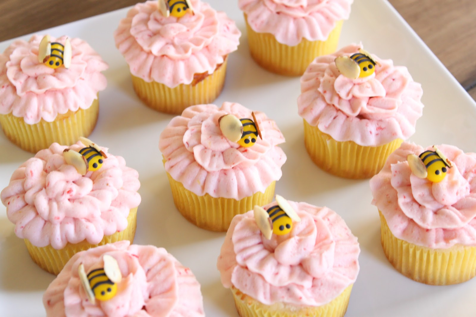 Crave Indulge Satisfy Spring Flower & Bumble Bee Cupcakes
