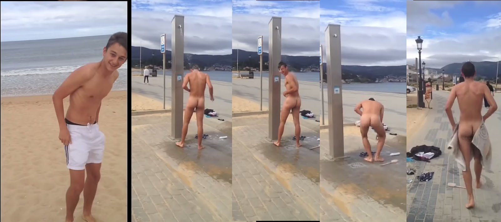 nude beach boy's erect