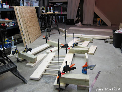 Wood Bed Pieces being Glued Headboard