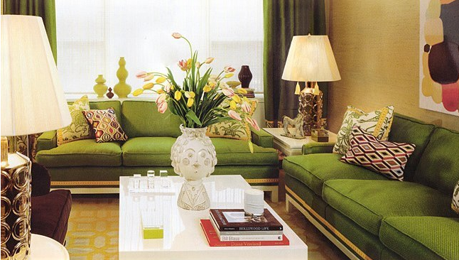 Great art decoration modern green living room Green colour living room