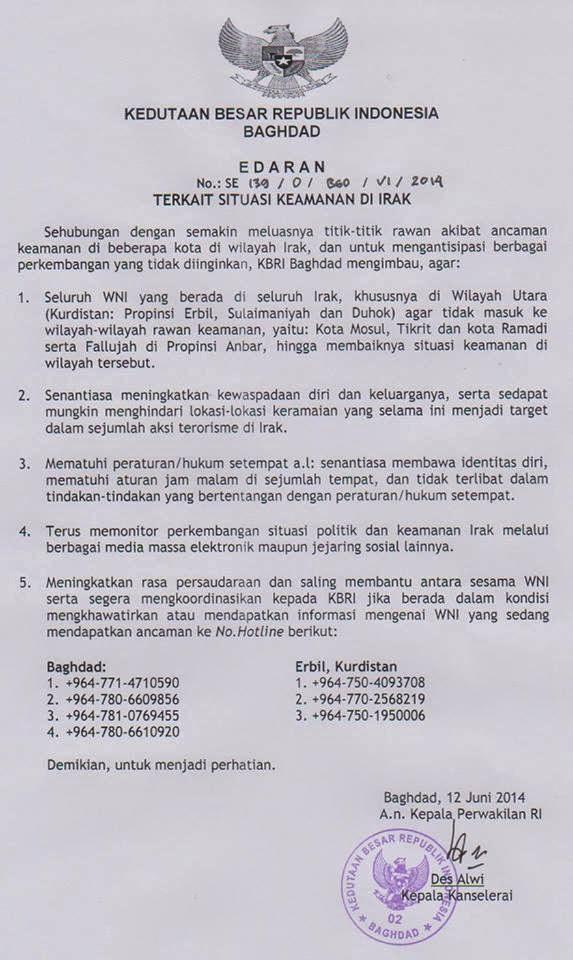 KBRI BAGHDAD PERINGATI WARGA NEGARA INDONESIA