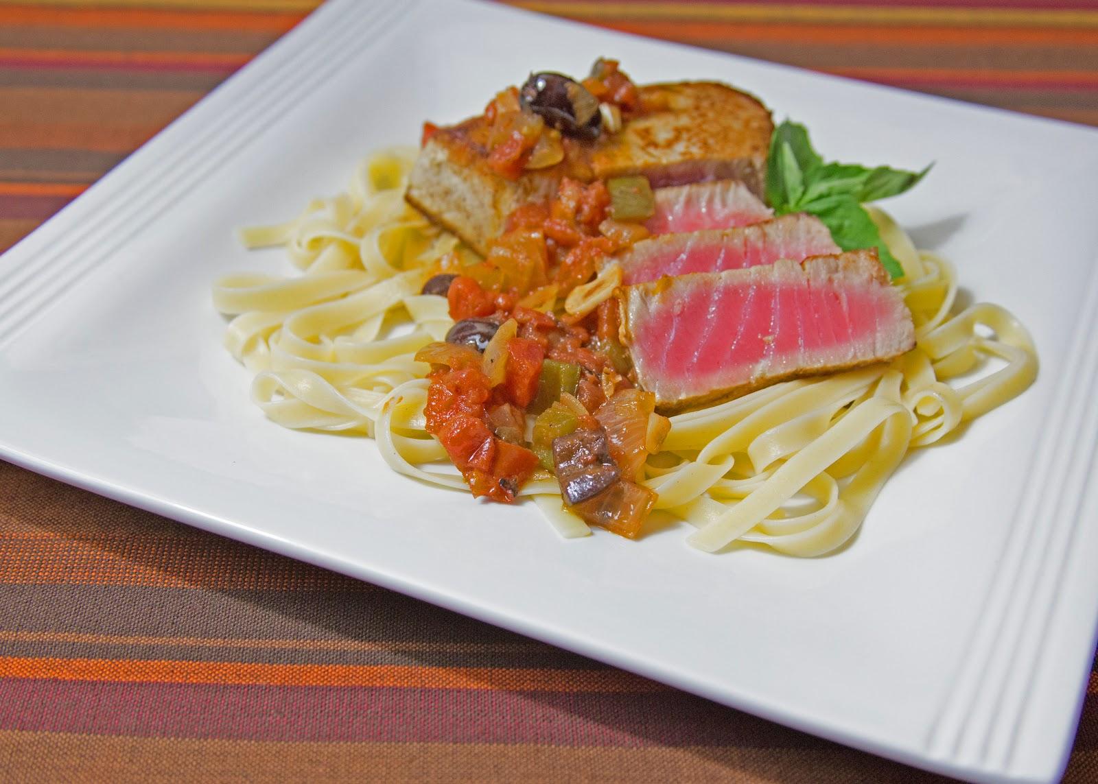 Tom and Anita : Ahi Tuna Over Pasta with Olive, Basil and Tomato Sauce