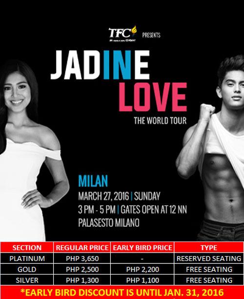 JaDine World Tour Milan Italy Ticket Prices