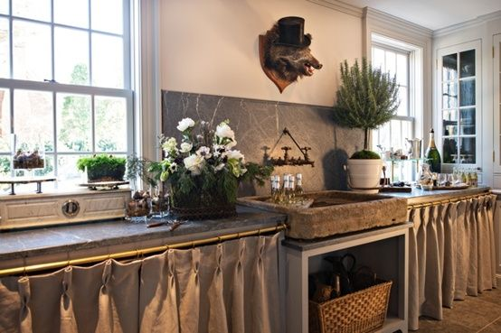 Skirted Sink Kitchen : Pinch pleating is yet another way to to create cabinet skirting. This ...