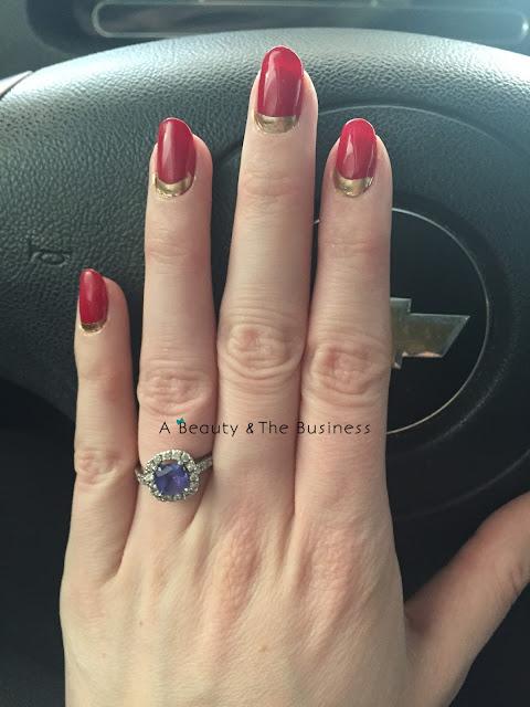 zoya america, gel manicure, , nail art, tiffany red gel manicure, twinsie Tuesday, twinsie Tuesday ruffian manicure, ruffian manicure, half moon manicure