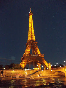 Le Tour de Eiffel at night. On the hour it sparkles for 5 minutes.  Nifty.