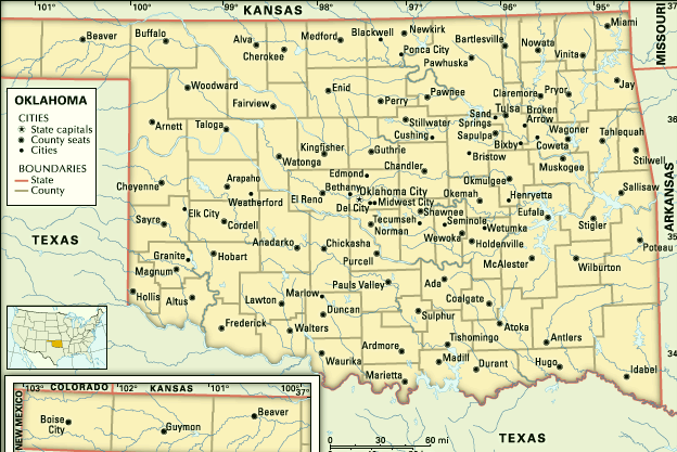 Oklahoma  County Map State Map City Map  Map Of USA