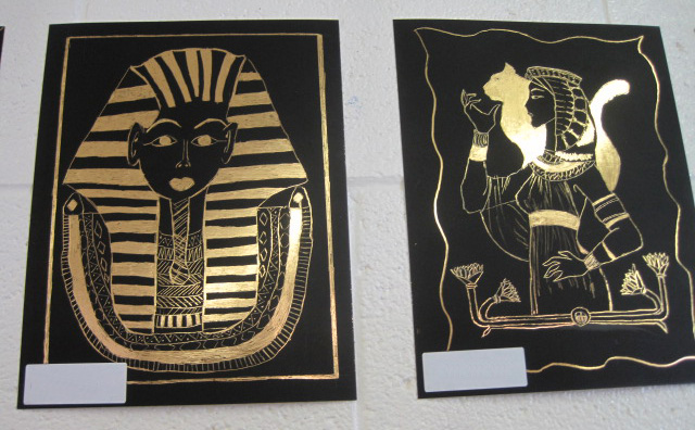 Gold Egyptian Art Project with Scratch Brite