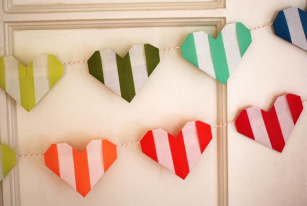Striped origami hearts