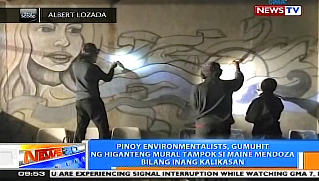 Maine Mendoza as Mother Earth in Rome, Italy Environmental Wall Mural