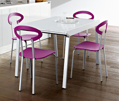 modern plastic kitchen chairs in purple
