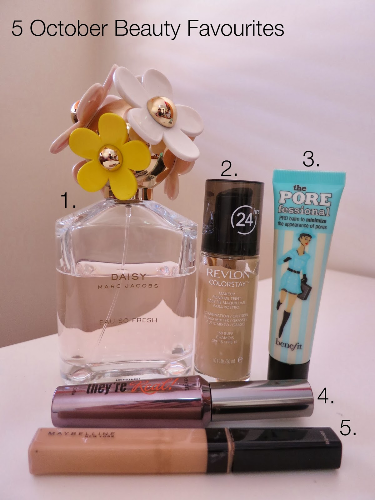 5 october beauty favourites 2013, revlon colorstay, benefit porefessional, benefit they're real, maybelline fit me concealer, marc jacobs daisy