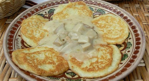 Potato Panckaes with Mushroom Sauce