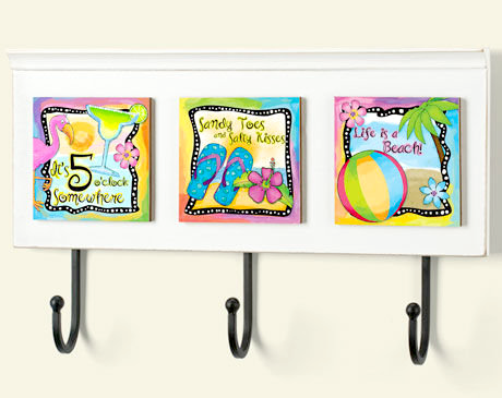 Beach Art Wall Rack Plaque with Quotes
