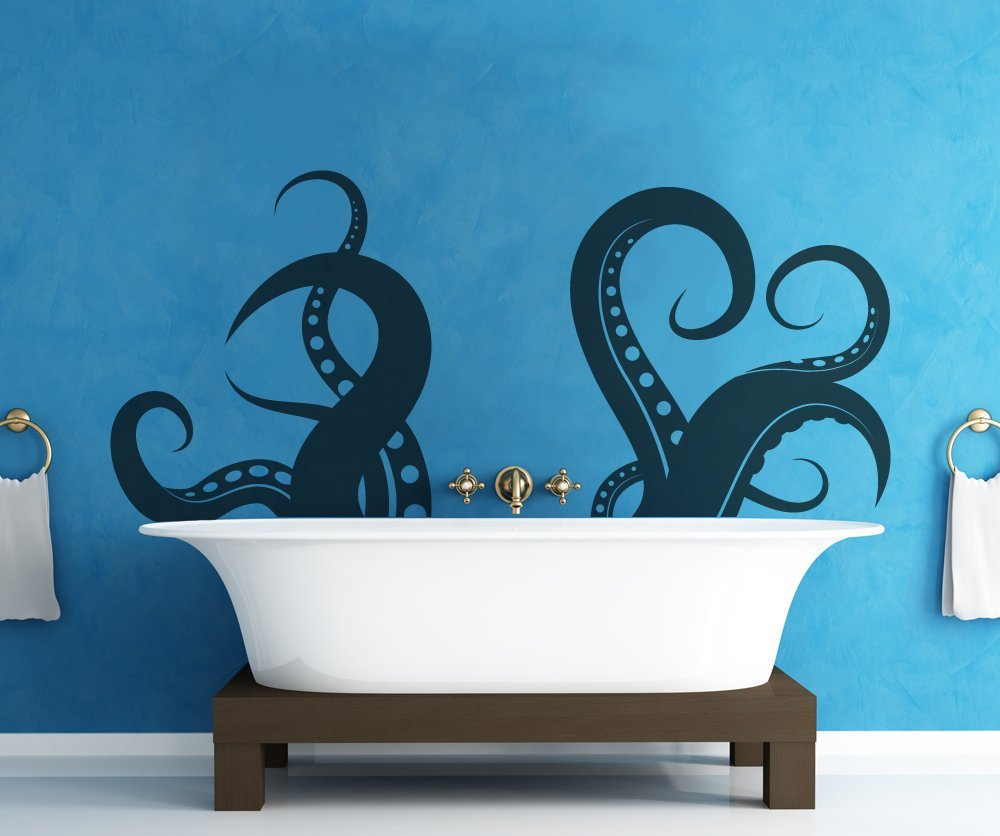 Giant octopus tentacle wall decal a cool way to bring for Cool bathroom decor