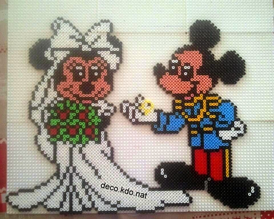 Decokdonat Perles Hama Mickey Et Minnie Jeunes Mariés
