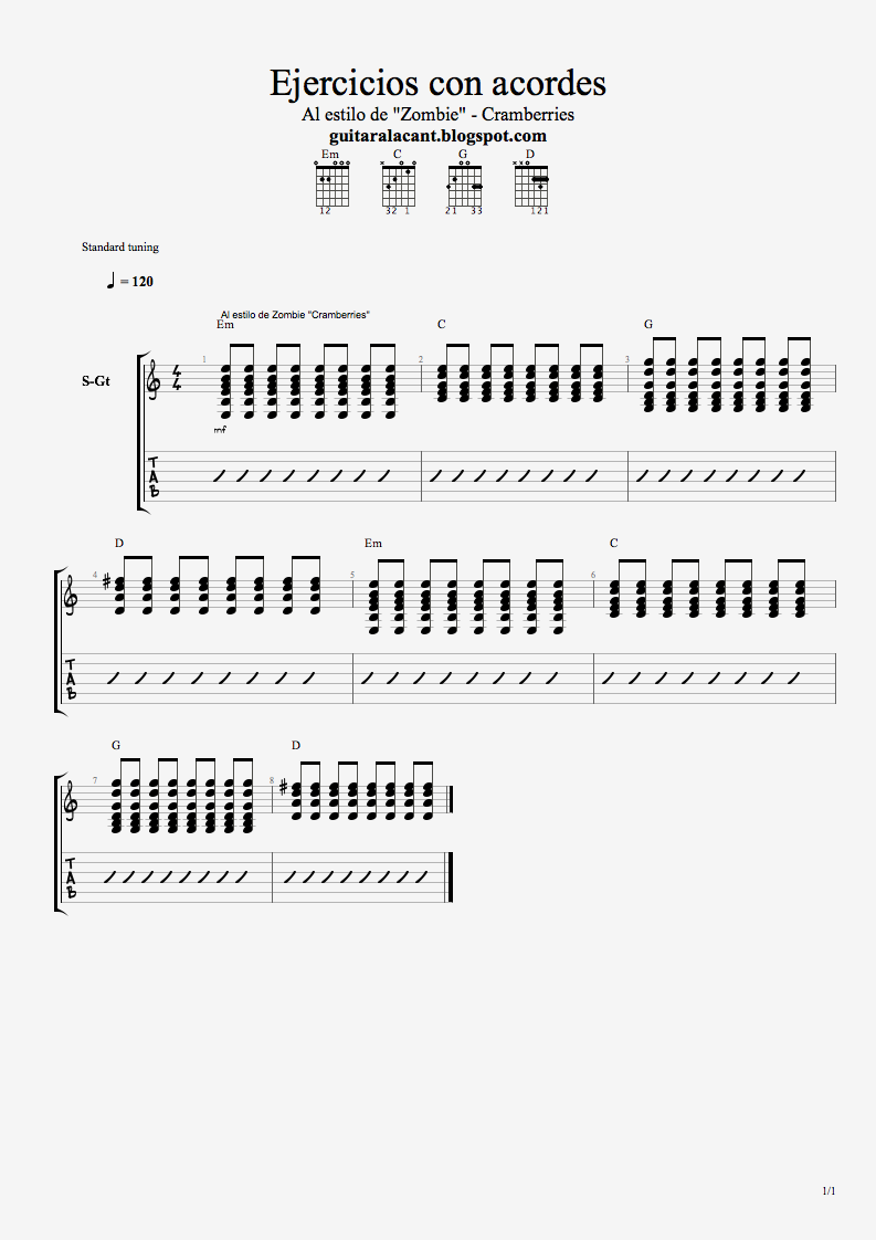 y canciones con acordes para guitarra: