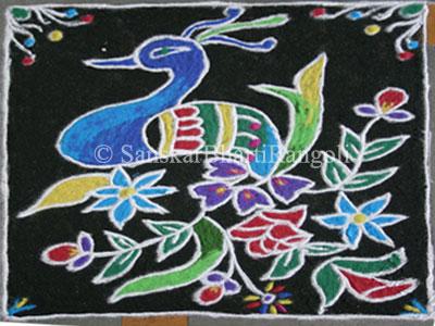 Freehand Peacock Rangoli Design - Sanskar Bharti Rangoli