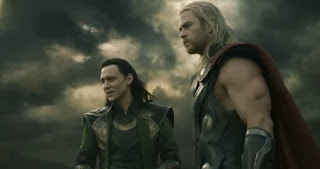 brothers Tom Hiddleston and Chris Hemsworth in 'Thor The Dark World'