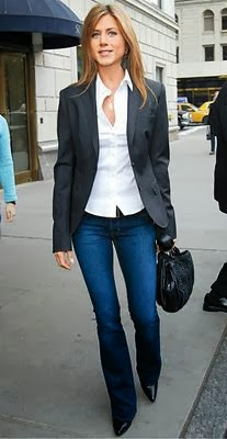 I love a black blazer, white button-down, black purse & heels with dark wash jeans.