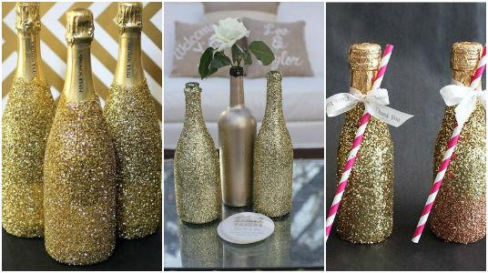 las mejores ideas para decorar botellas con glitter te encantarn