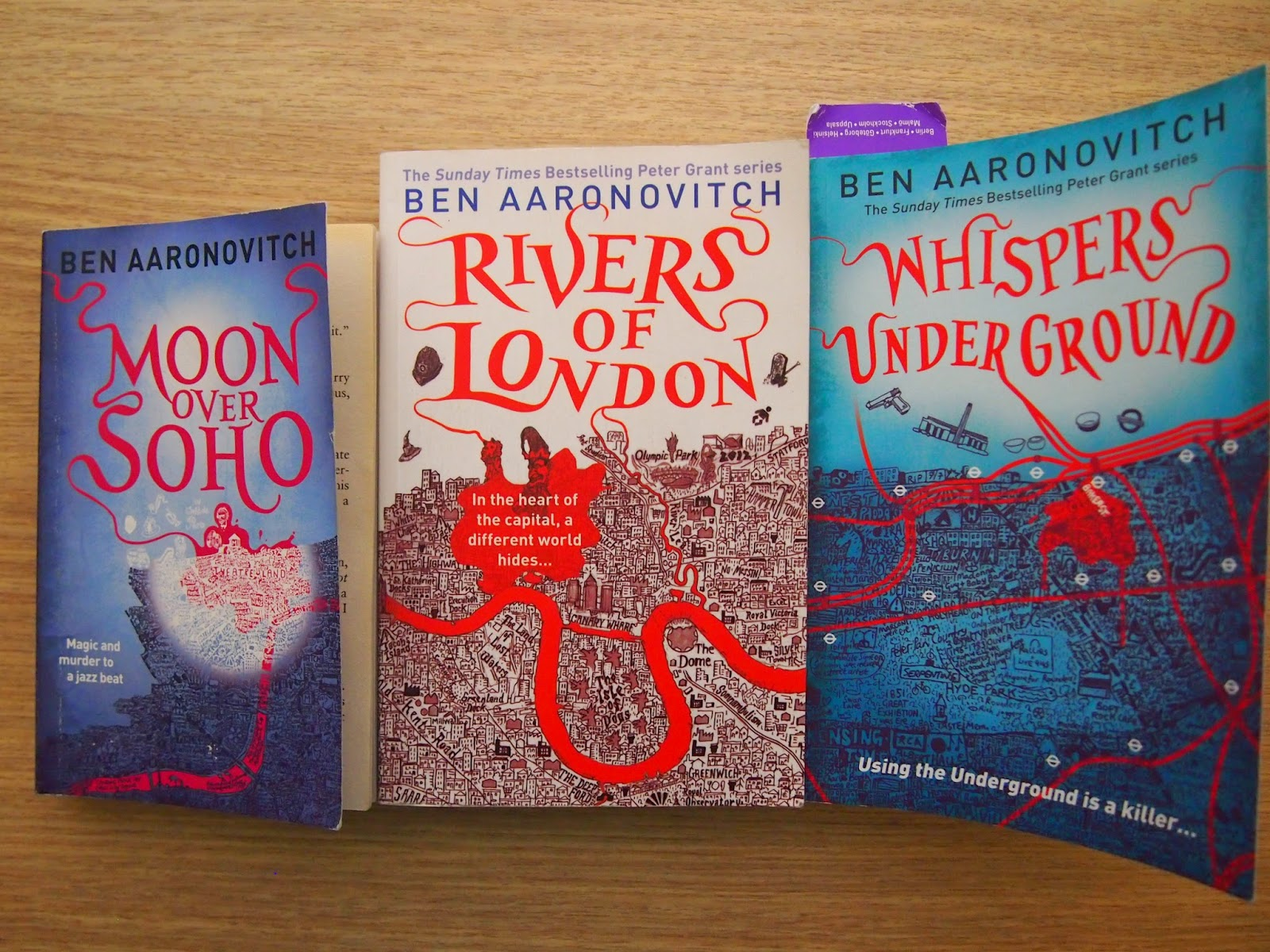 a photograph of three of the Peter Grant books by Ben Aaronovitch