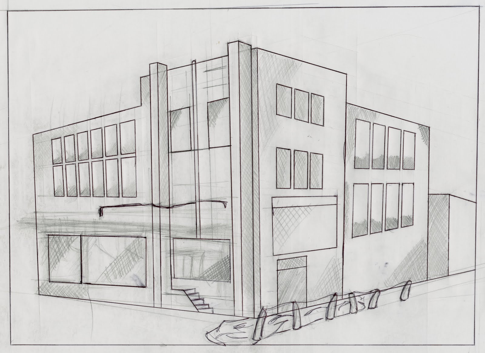 2 Point Perspective Building Drawing http://anthonyhandy.blogspot.com/2011/08/building-assignment-perspective.html