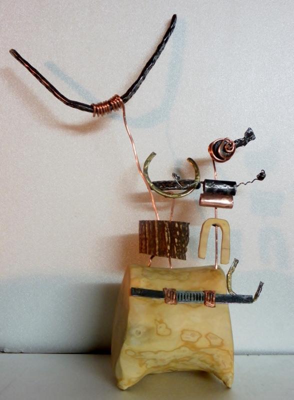 """sculpture """"chef de tribu"""" Vallée des Merveilles par Ama sculpteur"""