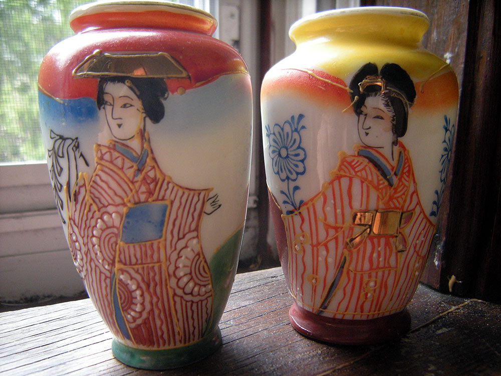 Satsuma Style Japanese Porcelain Mini Vases Made In Occupied Japan