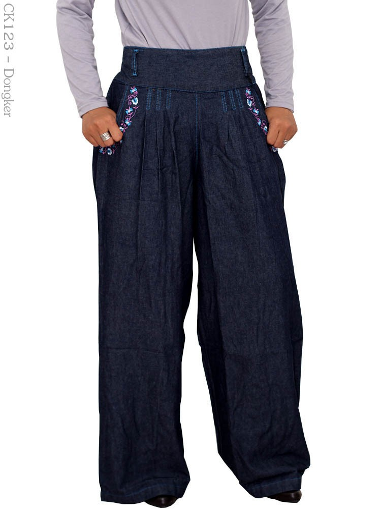 Ck123 Celana Kulot Jeans Bordir Busana Muslim Murah