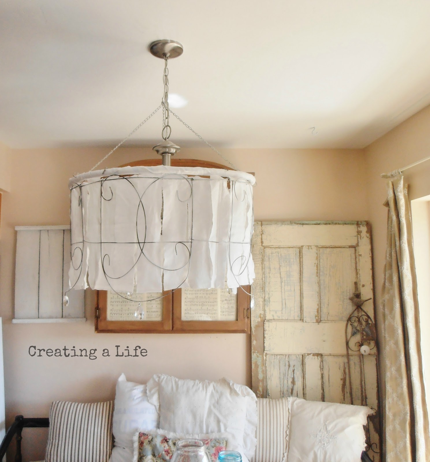 How to cover a wire lampshade frame with fabric to make a how to cover a wire lampshade frame with fabric creating a life junk style diy garden fencing shade keyboard keysfo Images