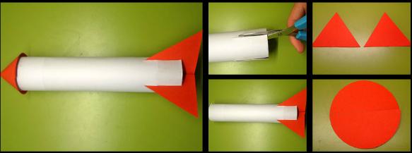 Negocios en la Revista© Cohete de cartón manualidad infantil