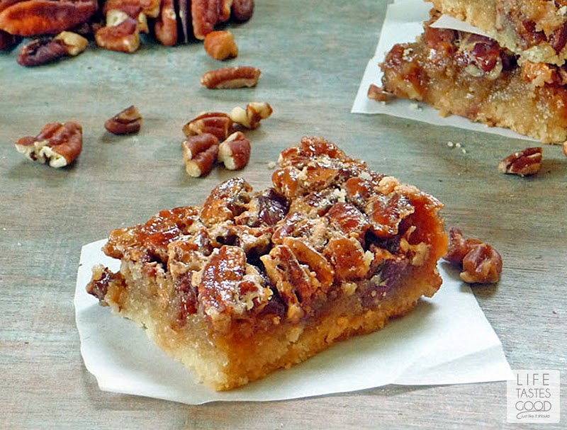 The Best Pecan Pie Bars | by Life Tastes Good are full of caramel and pecan pie goodness nestled on a shortbread crust. This make ahead dessert is perfect for Thanksgiving!