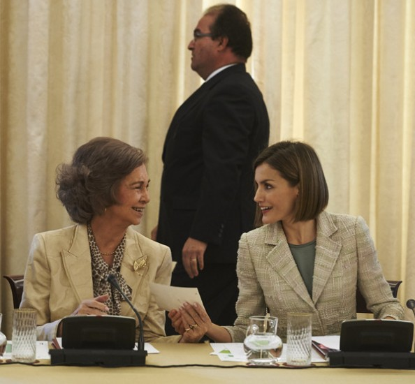 Queen Letizia And Queen Sofia Attended Audiences In Zarzuela Palace