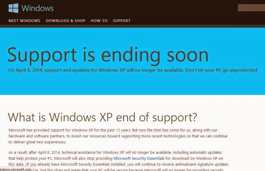 Berakhirnya Support untuk Windows XP 8 April 2014
