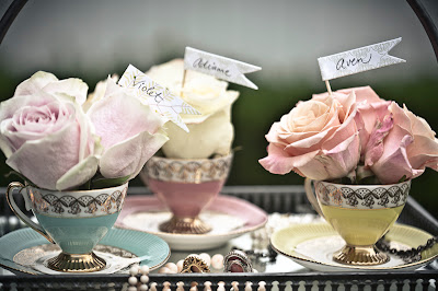 vintage teacups with flowers