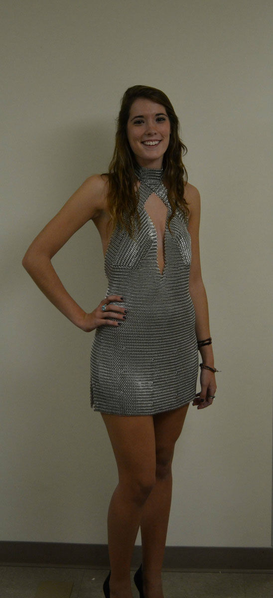 Pretty Girl Made A Party Mini Dress Out Of Aluminium!