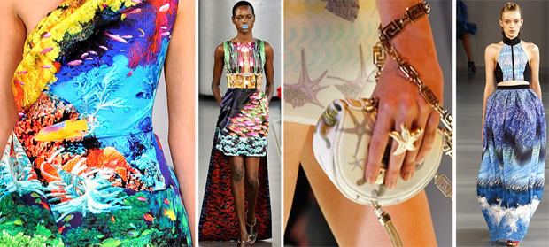 spring summer 2012 tropical fashion print catwalk designer exotic colourful fish sea bright mary kantrantzou versace peter pilotto luxury silk