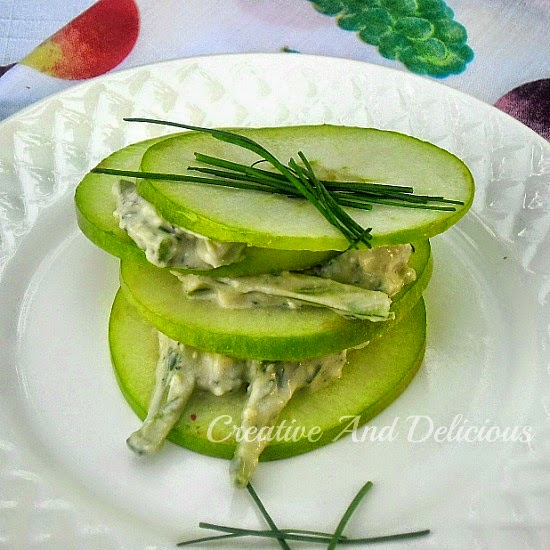 Apple and Celery Salad Stacks ~ Delicious, refreshing Apple Salad ~ ideal as a side or appetizer ! #Salad #LowFat #AppleSalad #Appetizer