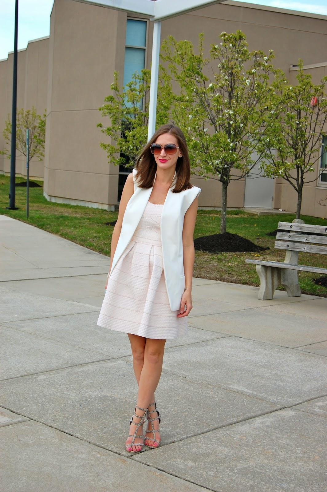 Wearing Trouve sema detail power vest from Nordstrom, Francesca's bandaged pink strapless dress, Bcbgeneration manci sandals, spring dress