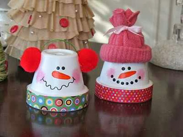 tarra-cotta pot snowman