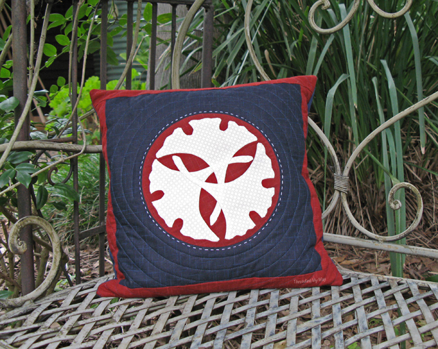 Machine Appliquéd, Quilted Cushion ~ Threading My Way