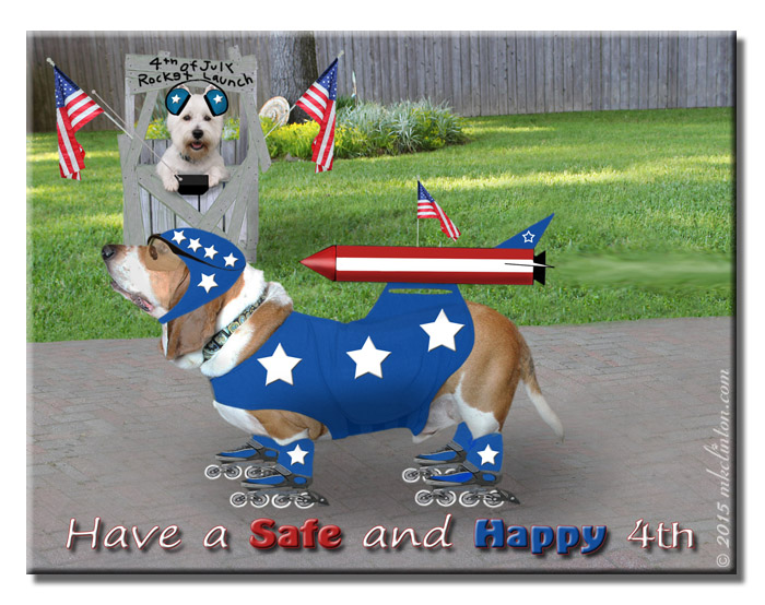 Rocket Hound in stars and stripes for Fourth of July