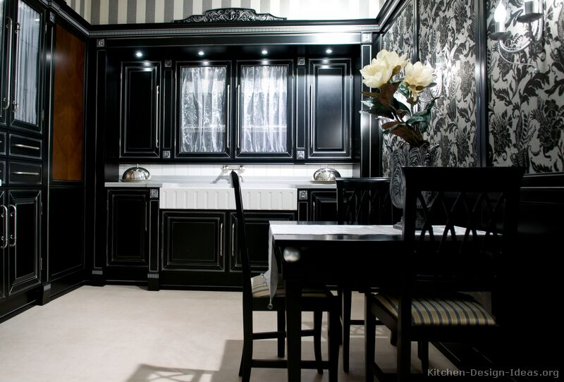 Black kitchen cabinets with different ideas kitchen for Dark cabinet kitchen ideas