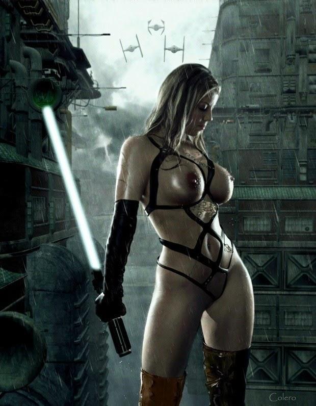 cosplay jedi femme nue en harnais de cuir et sabre laser
