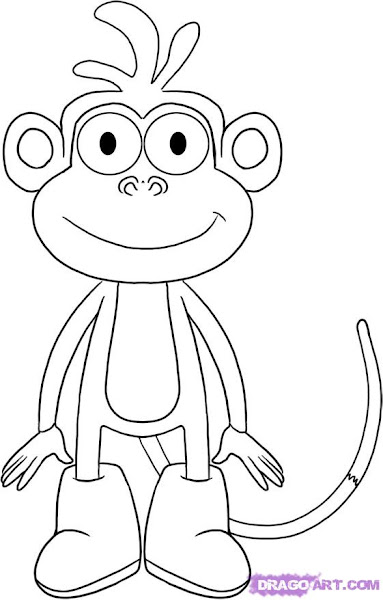 How To Draw Boots The Monkey From Dora The Explorer