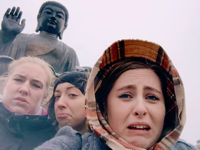 Selfie with the Big Buddha in the cold & the rain, Lantau Island, Hong Kong