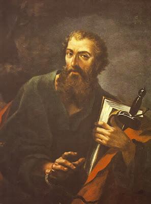 Pintura de San Pablo sosteniendo en su Mano Izquierda el Libro y La Espada