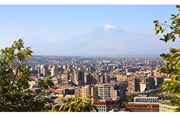 A high level perspective of Yerevan in Armenia.